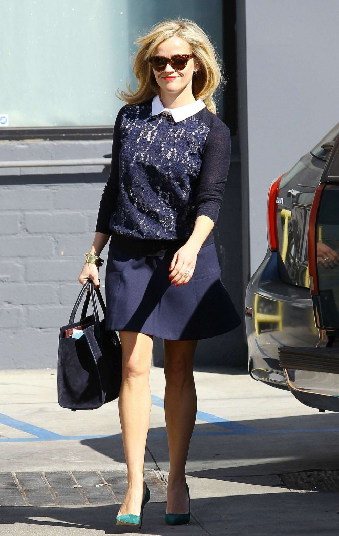Reese Witherspoon in Blue Skirt out in Beverly Hills