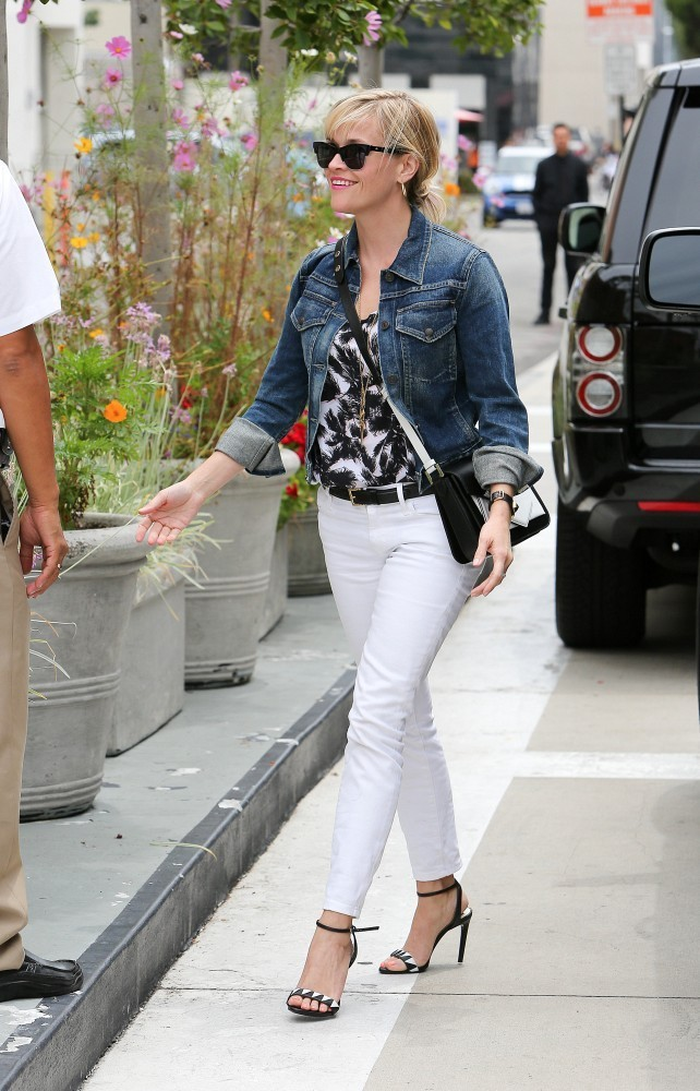 Reese Witherspoon In White Pants out in LA