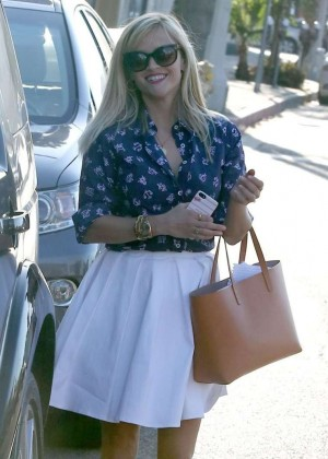 Reese Witherspoon in White Skirt out in West Hollywood