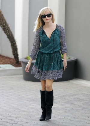 Reese Witherspoon in Green Mini Dress Out in Beverly Hills