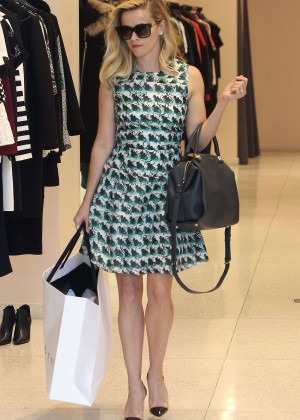 Reese Witherspoon in Mini Dress Out shopping in Los Angeles