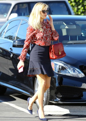 Reese Witherspoon in Black Skirt Out in Brentwood