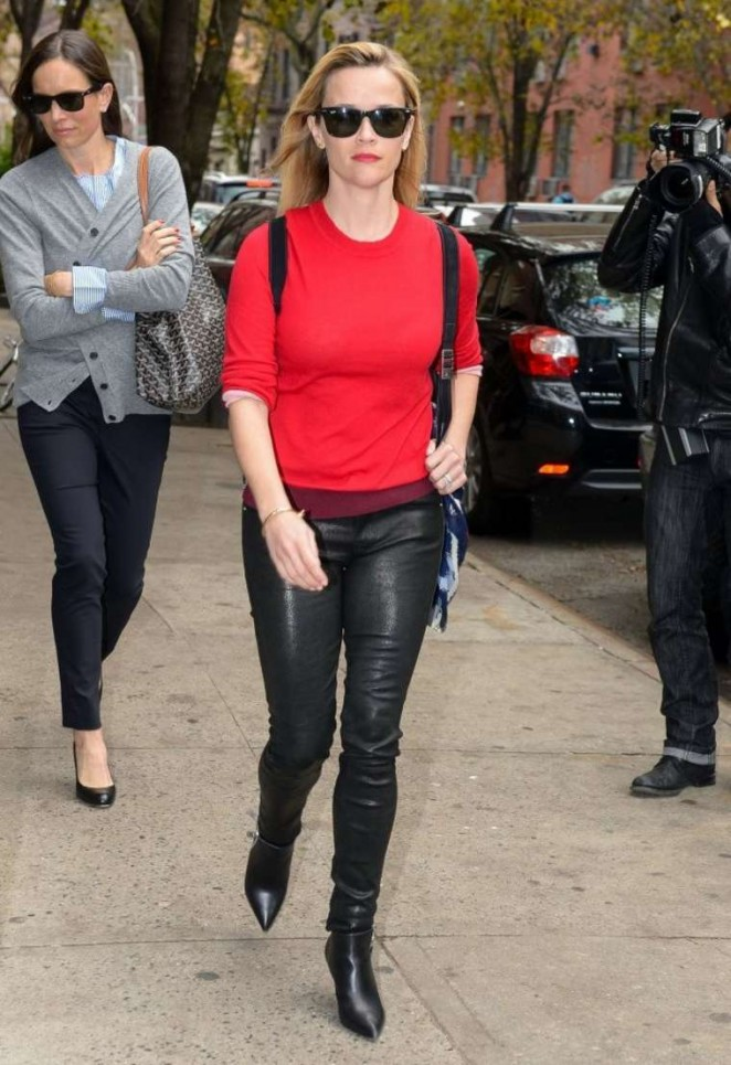 Reese Witherspoon in Leather Pants Out in New York City