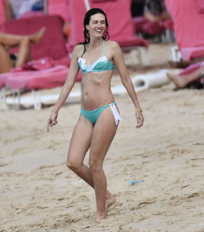 Rhea Durham in a bikini on the beach in Barbados