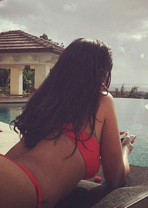 Rihanna and Melissa Ford in Red Bikinis -02