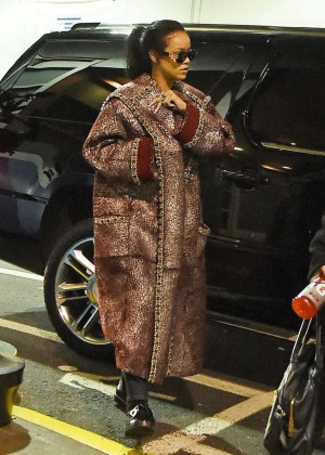 Rihanna in Long Coat - Arriving at Recording Studio in NYC