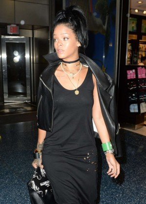 Rihanna in Black Dress at Miami International Airport