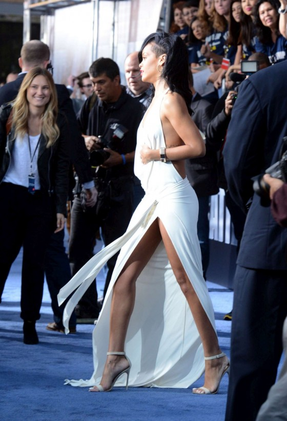 Rihanna In a white long dress at BATTLESHIP Premiere in LA - May 2012