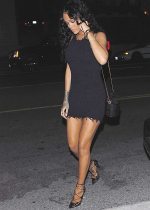 Rihanna Leggy in Mini Dress -07