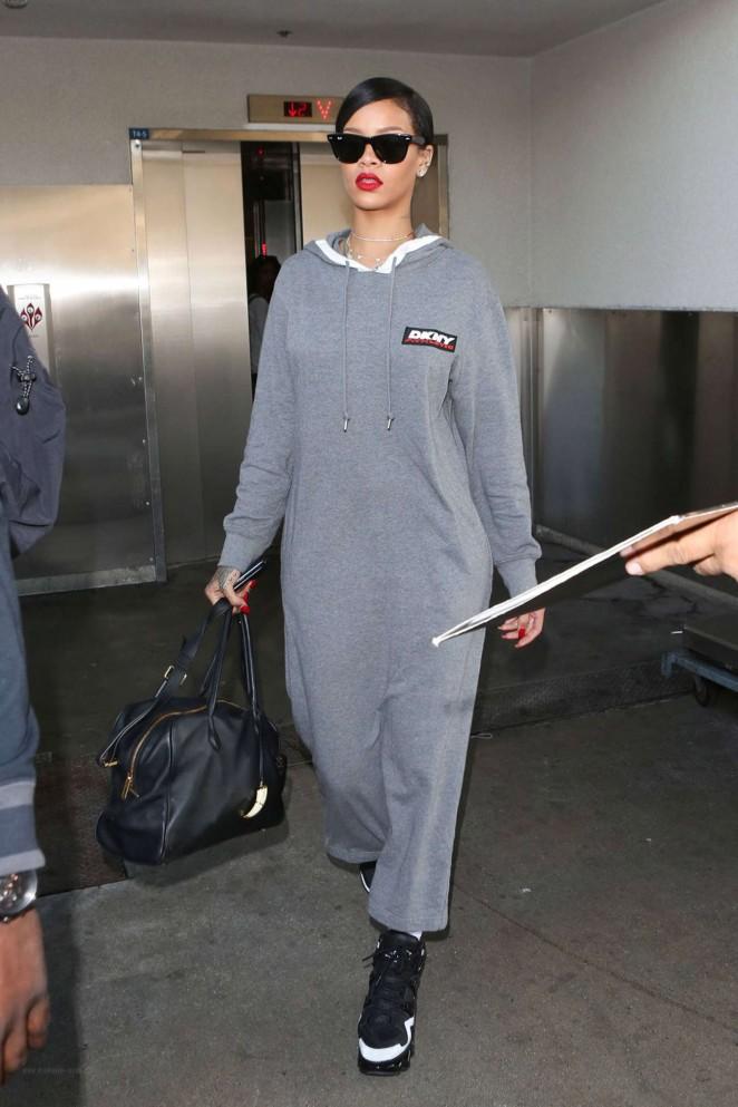 Rihanna in Long Dress at LAX -02