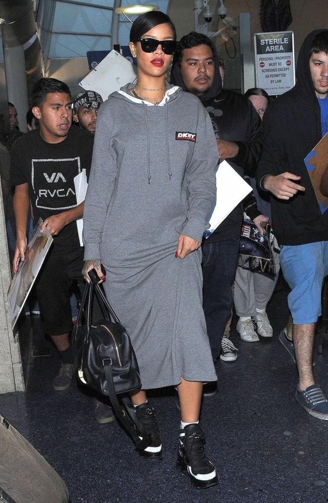 Rihanna in Long Dress at LAX -04