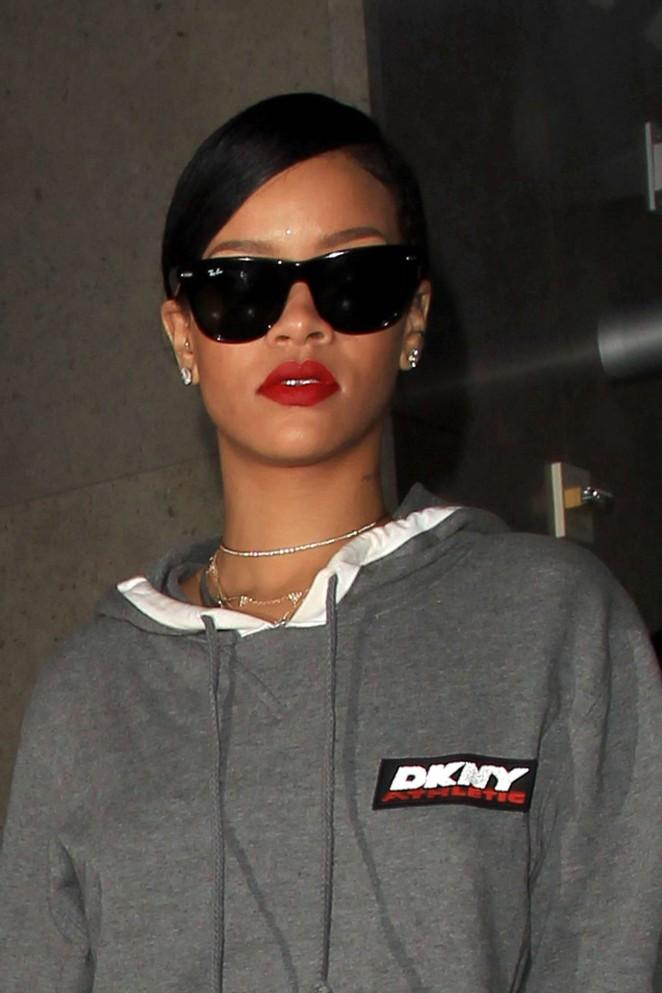 Rihanna in Long Dress at LAX -09