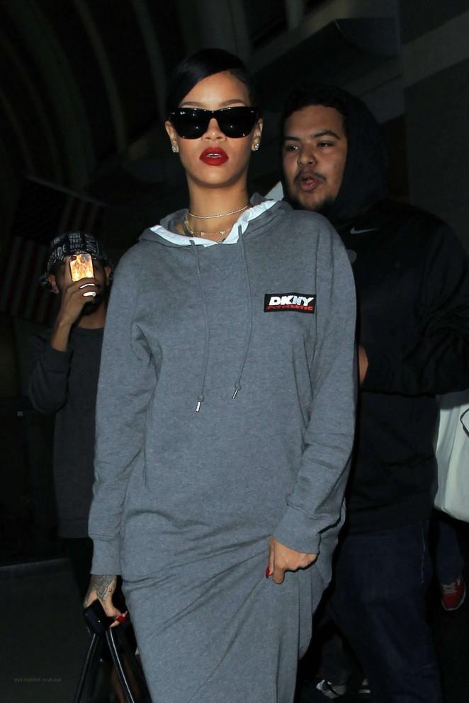 Rihanna in Long Dress at LAX -12