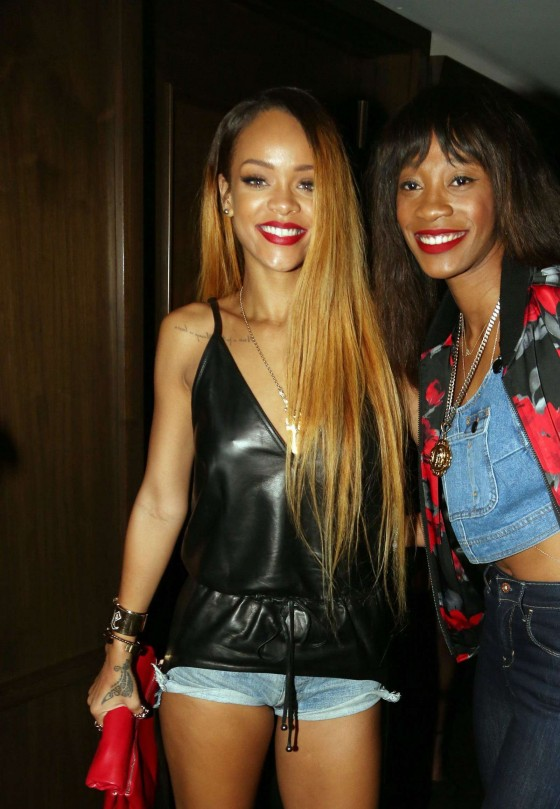 Rihanna at the Mayweather vs Guerrero Fight at 40-40 Nightclub -03