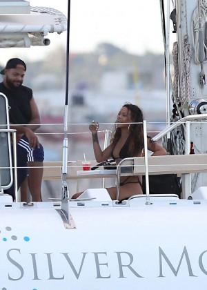 Rihanna in Black Bikini -11