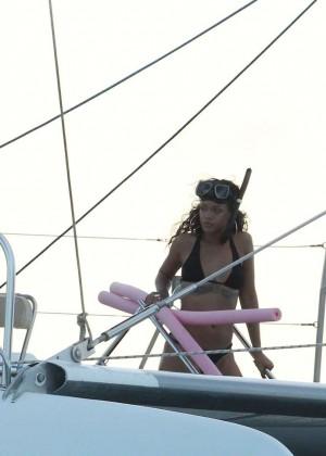 Rihanna in Black Bikini -32