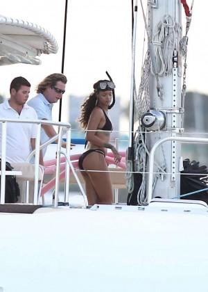 Rihanna in Black Bikini -44