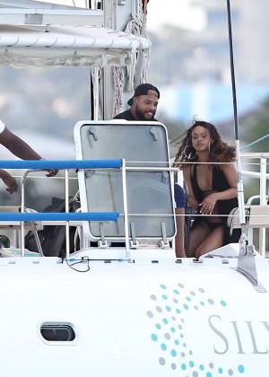 Rihanna in Black Bikini -49