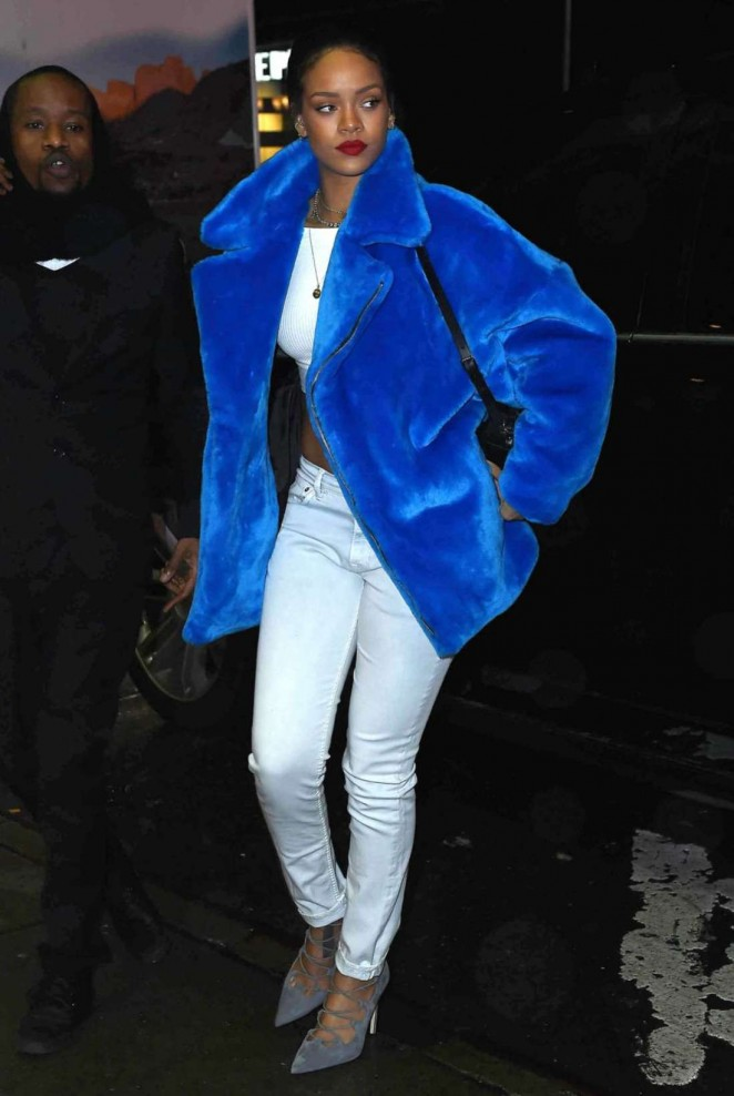 Rihanna in Blue Winter Coat out in NYC