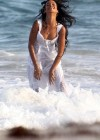 Rihanna - Filming on the beach in Barbados