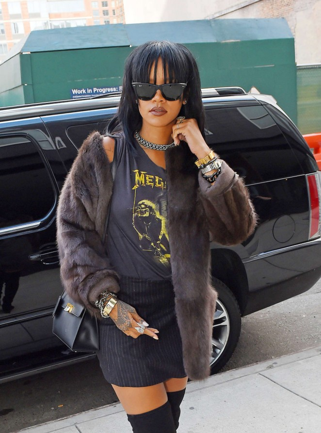 Rihanna in Mini Skirt Heading to a recording studio in Chelsea