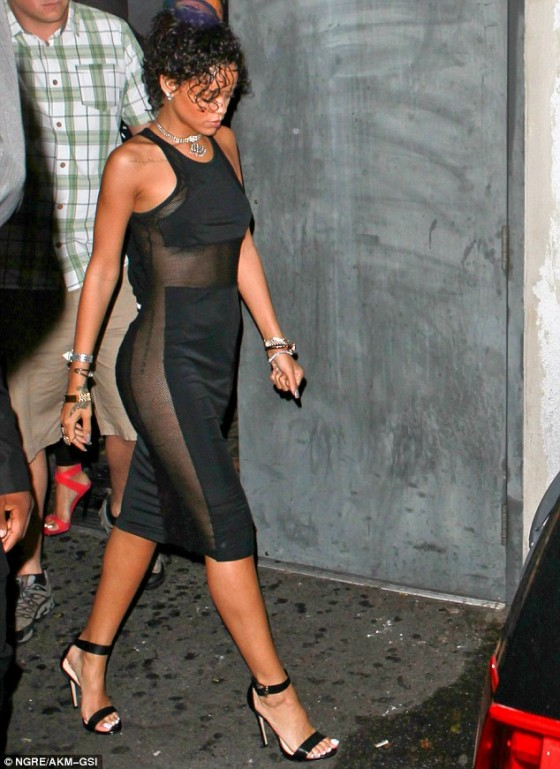 Rihanna In Dress With Sheer Side Panels 05 Gotceleb