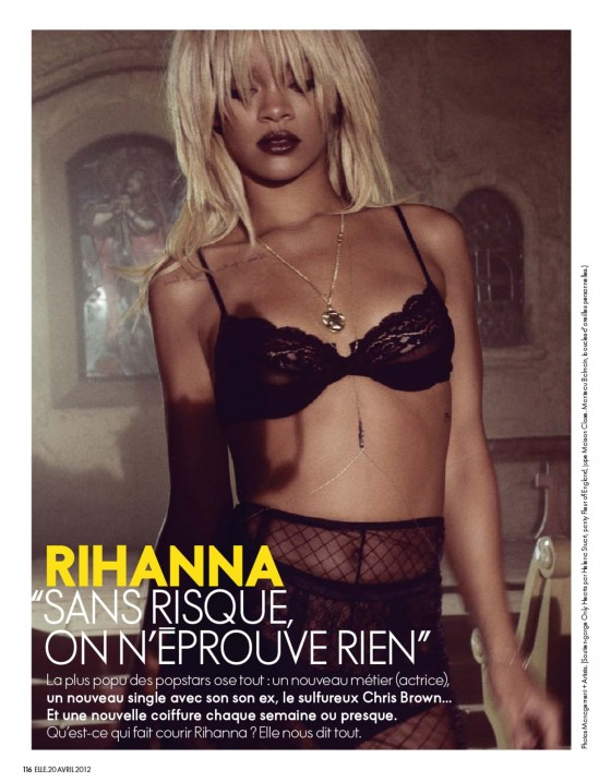 Rihanna in lingerie for Elle Magazine 2012