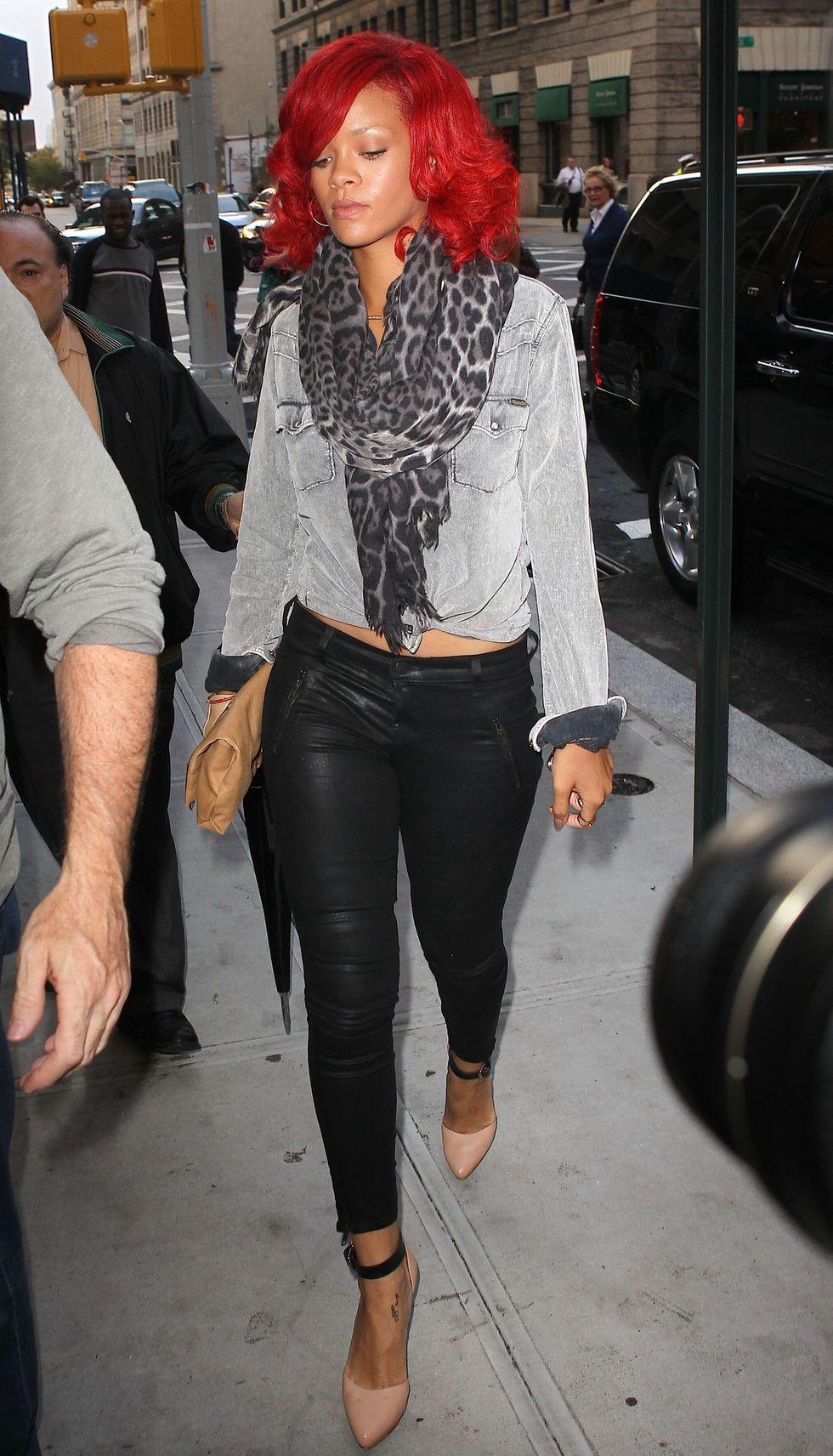 Rihanna Leather Trousers Candids Da Silvano Restaurant In