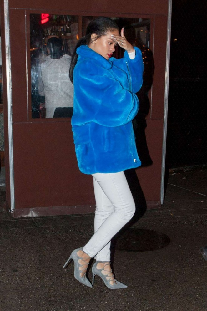 Rihanna in White Pants and Blue Coat Leaves Da Silvano's in NY