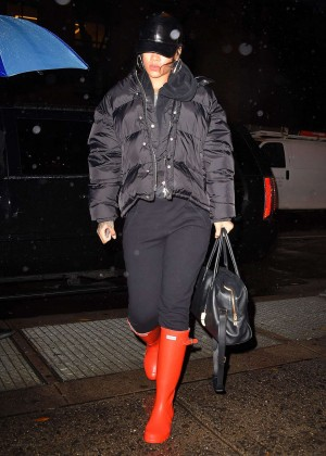 Rihanna in Red Boots Leaves Recording Studio in NY