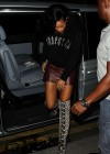 Rihanna - Leggy in a leather mini skirt at The Rose Club in London