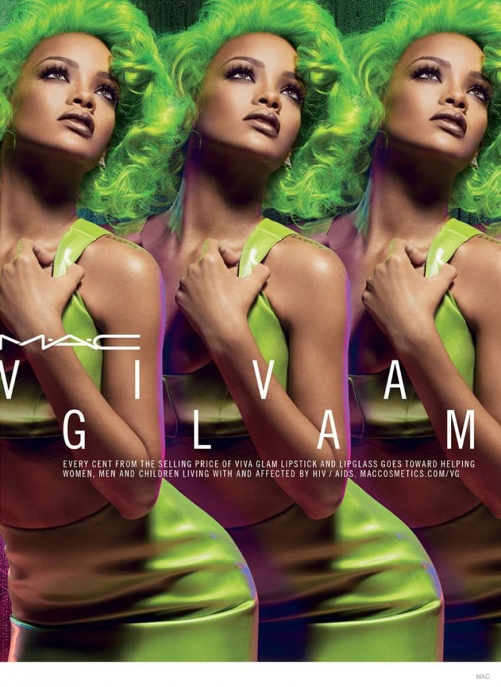 Rihanna - Green Hair for MAC VIva Glam Fall 2014 Makeup Ad
