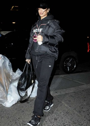 Rihanna in Black out in NYC