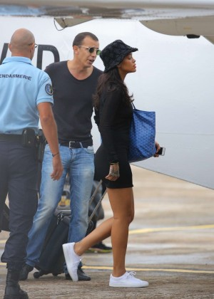 Rihanna in Black Mini Dress Leaving St. Barts