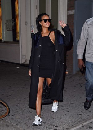 Rihanna in Black Mini Dress out in New York City