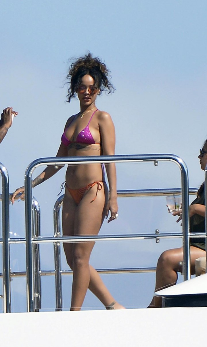 Rihanna in Bikini on a Boat in Ponza
