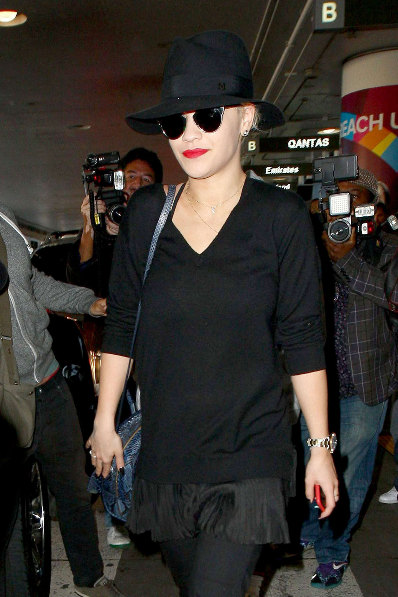 Rita Ora in Black Arrives at LAX Airport in Los Angeles