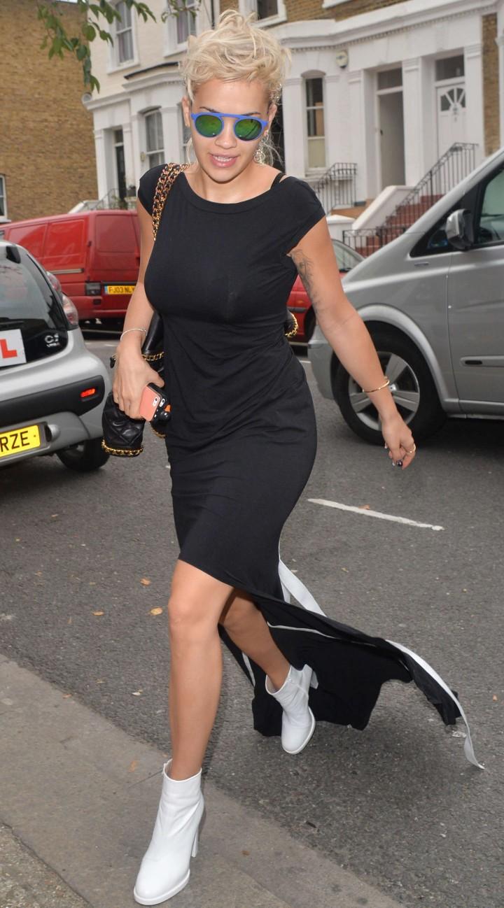 Rita Ora in Black Dress Arriving at a studio in London