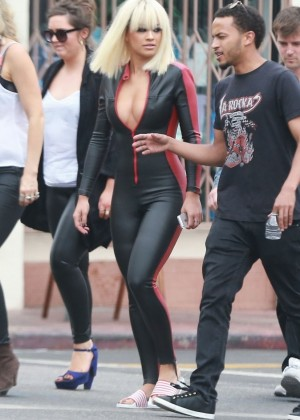 Rita Ora in Leather Suit - Filming a music video in Los Angeles
