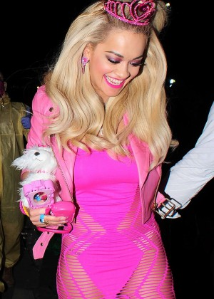 Rita Ora in Pink Dress at Death Of A Geisha Party in London