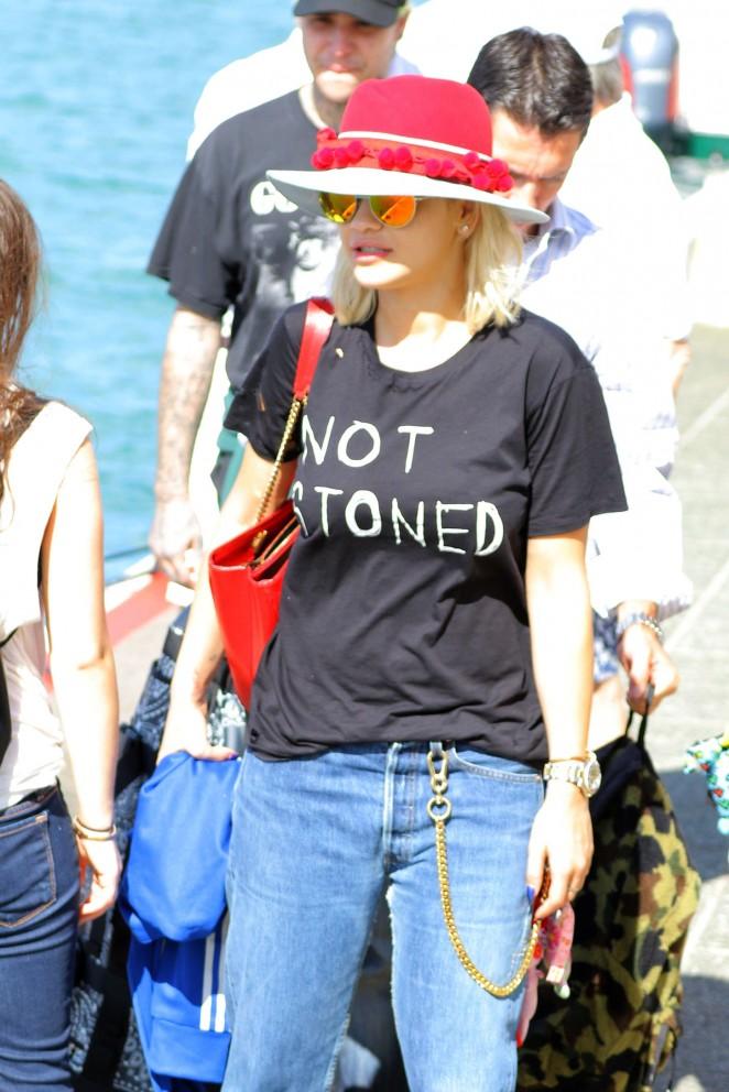 Rita Ora in Jeans Leaving St. Barths