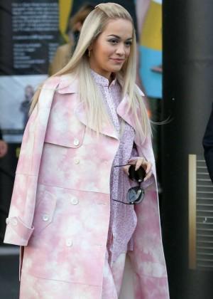 Rita Ora Looks in Pink at BBC Breakfast Studios in London