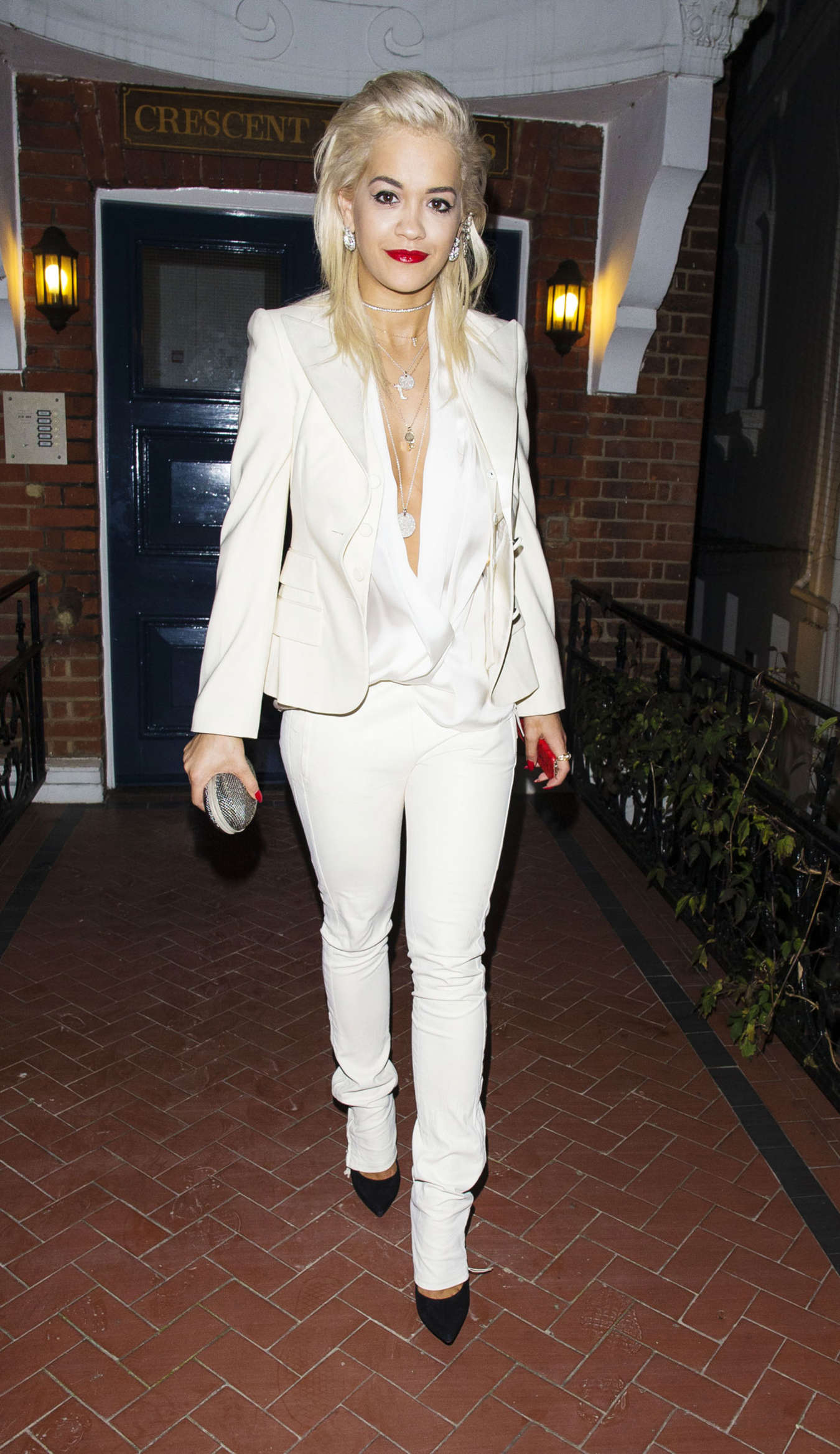 Rita Ora in White Suit Out in London