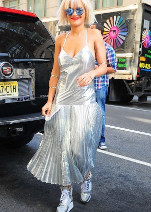 Rita Ora in Silver Dress Out in NYC