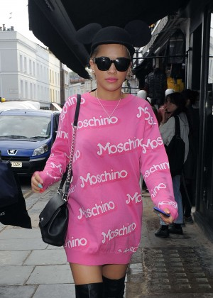 Rita Ora in Pink Mini Dress out in London