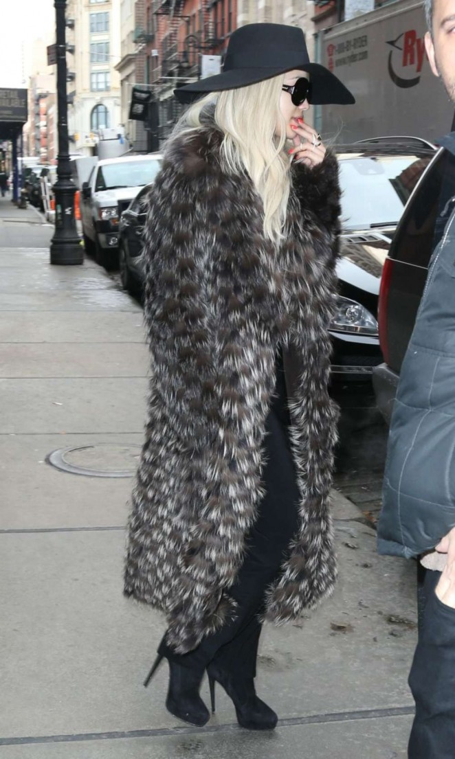 Rita Ora in Long Coat Out In New York City