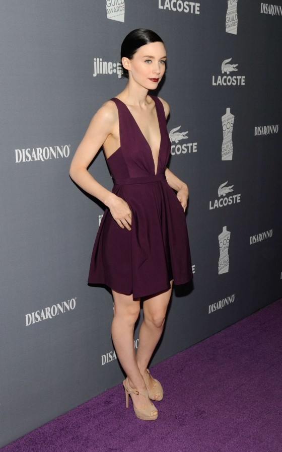 Rooney Mara cleavy at 2012 Costume Designers Guild Awards-07