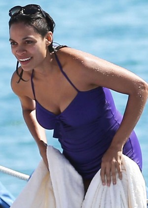 Rosario Dawson Blue Swimsuite Photos: 2014 Cannes -03