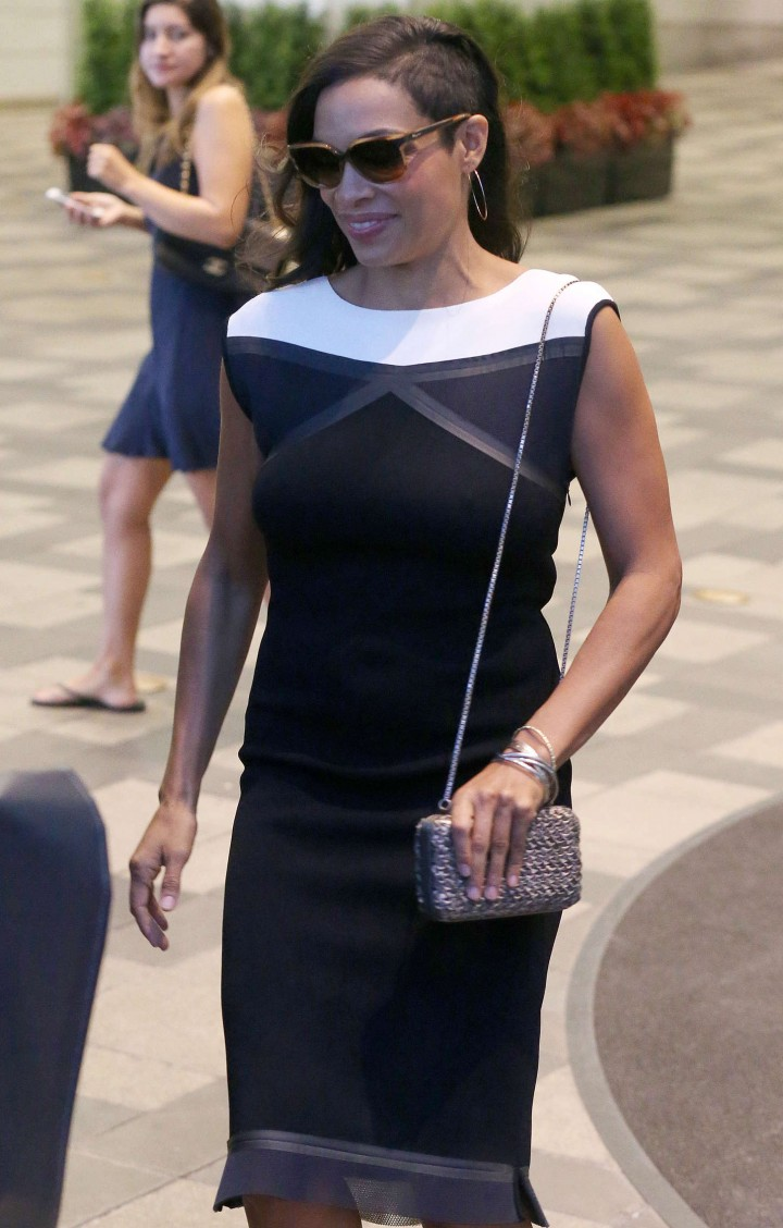 Rosario Dawson in Black Dress out in Toronto