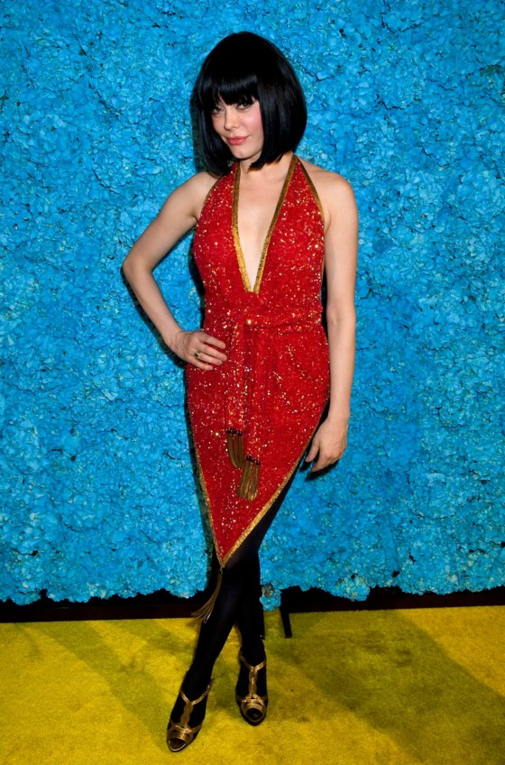 Rose McGowan cleavage in red dress at Just Jared Party